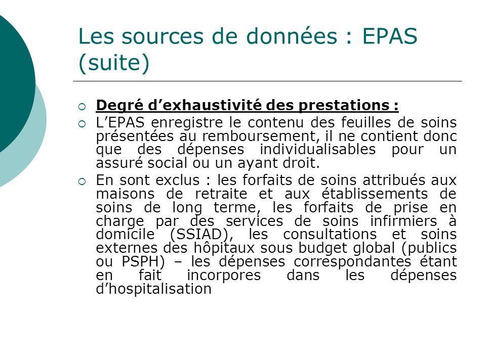 Les sources de données : EPAS (suite)