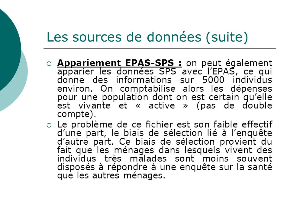 Les sources de données (suite)