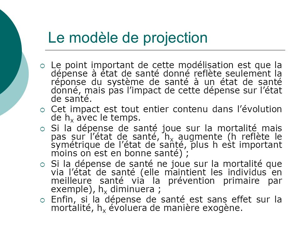 Le modèle de projection