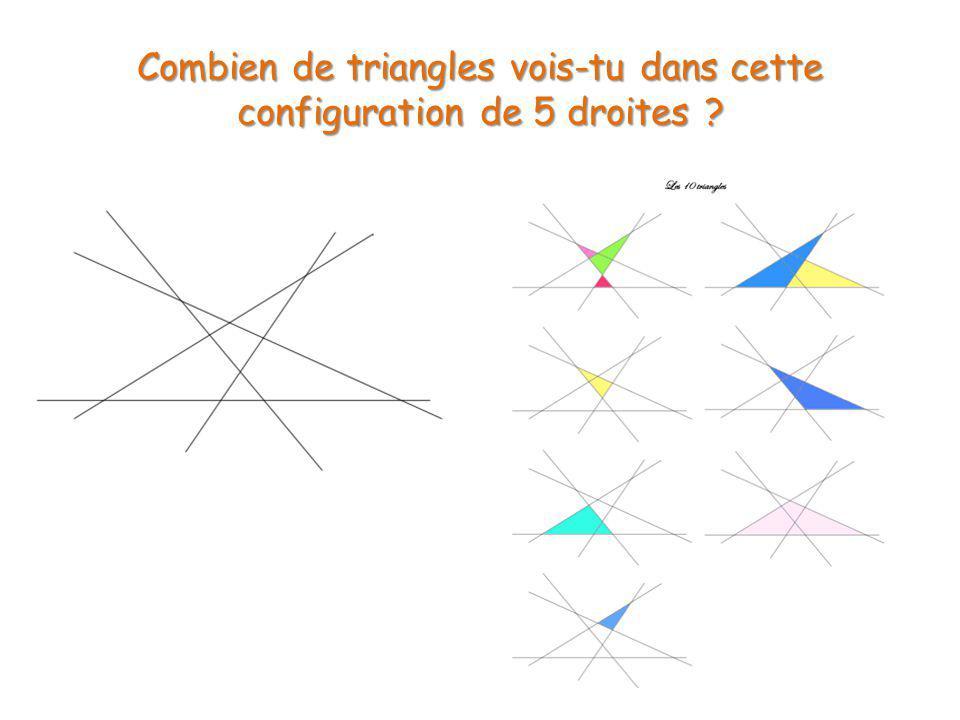 Combien de triangles vois-tu dans cette configuration de 5 droites