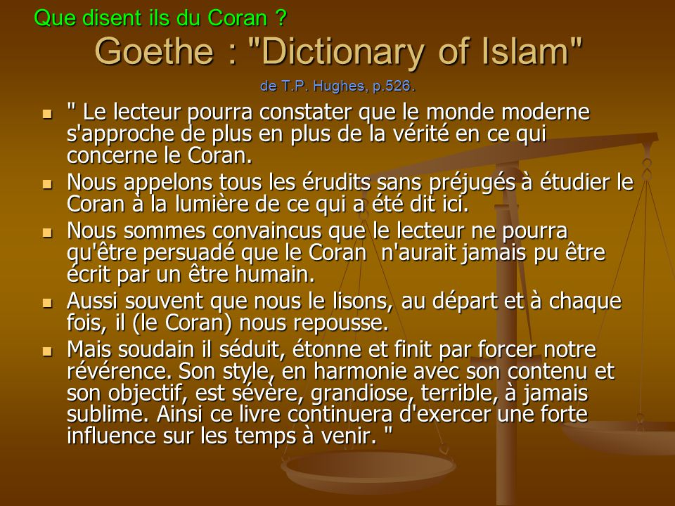 Goethe : Dictionary of Islam de T.P. Hughes, p.526.
