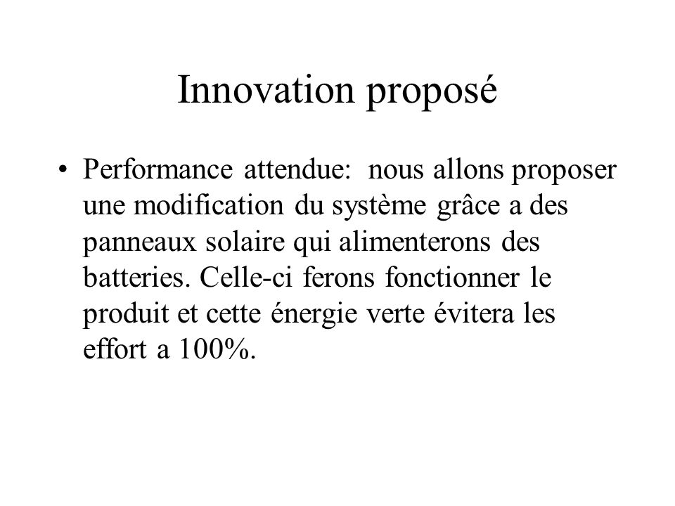 Innovation proposé