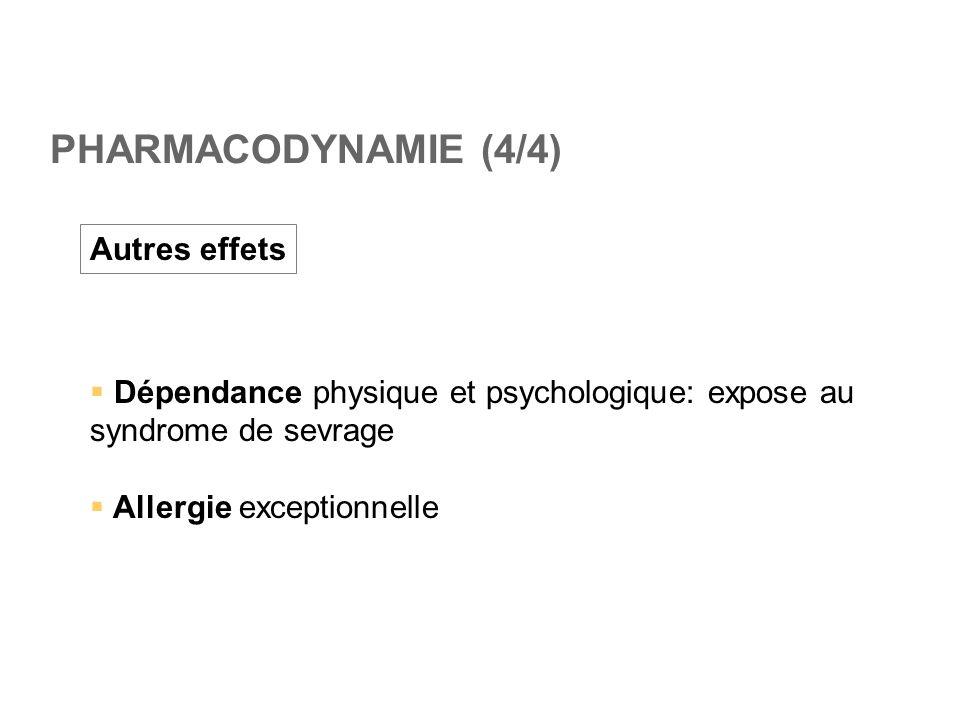 PHARMACODYNAMIE (4/4) Autres effets