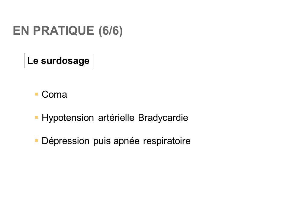 EN PRATIQUE (6/6) Le surdosage Coma Hypotension artérielle Bradycardie