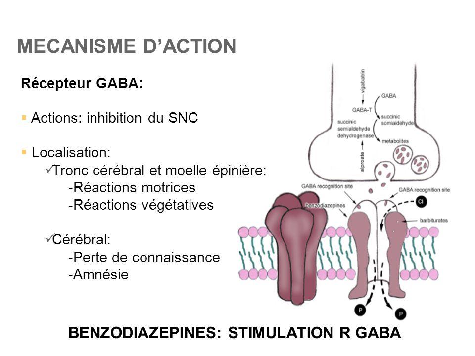 MECANISME D'ACTION BENZODIAZEPINES: STIMULATION R GABA Récepteur GABA: