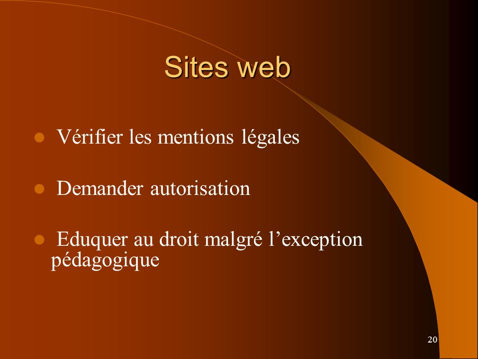 Sites web Vérifier les mentions légales Demander autorisation