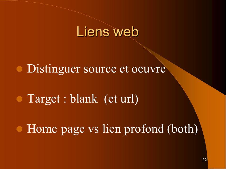 Liens web Distinguer source et oeuvre Target : blank (et url)