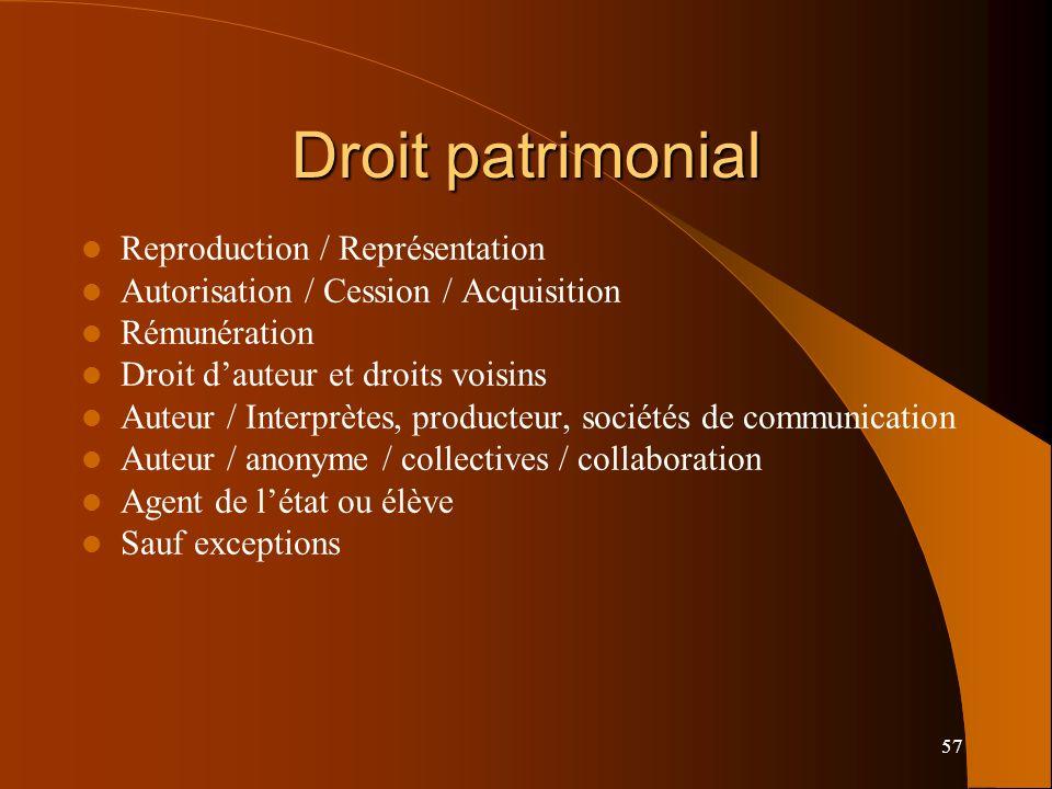 Droit patrimonial Reproduction / Représentation