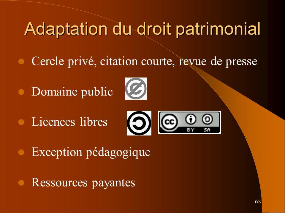 Adaptation du droit patrimonial