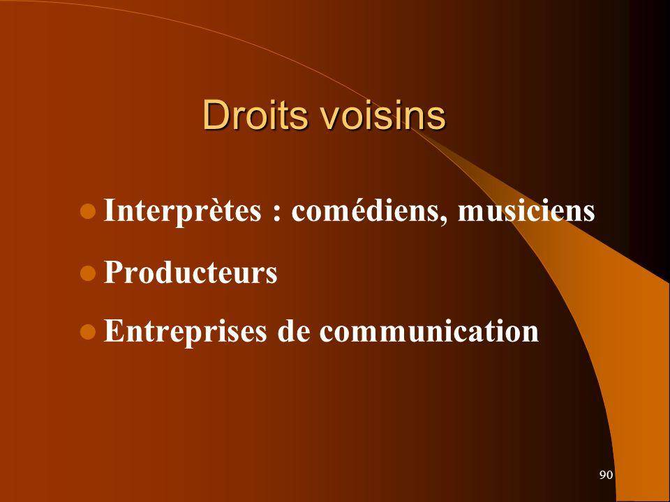 Droits voisins Interprètes : comédiens, musiciens Producteurs
