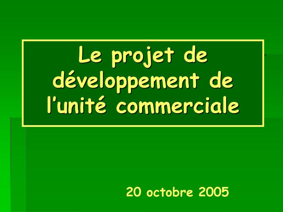 Le projet de développement de l'unité commerciale