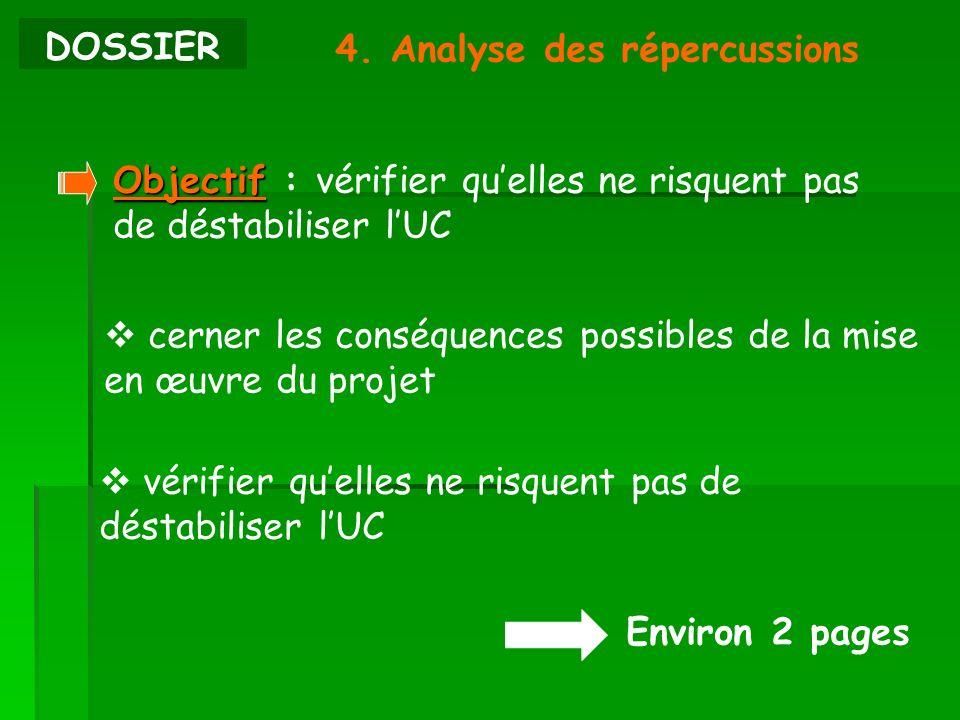 DOSSIER4. Analyse des répercussions. Objectif : vérifier qu'elles ne risquent pas de déstabiliser l'UC.