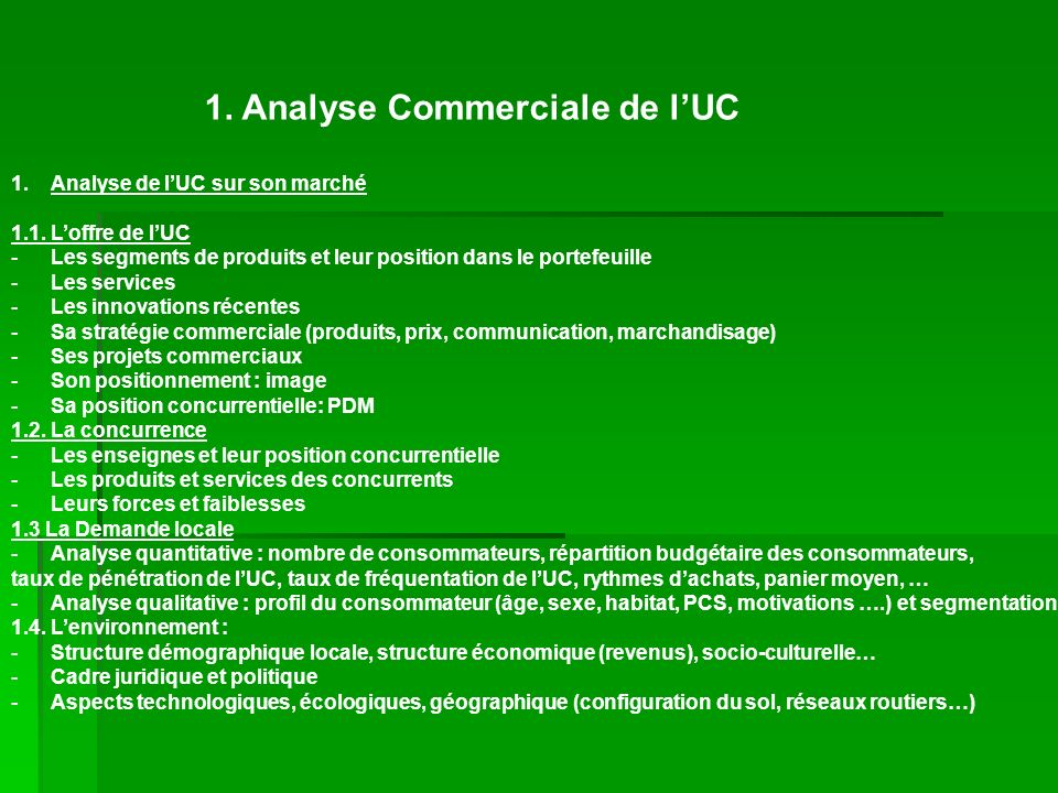 1. Analyse Commerciale de l'UC