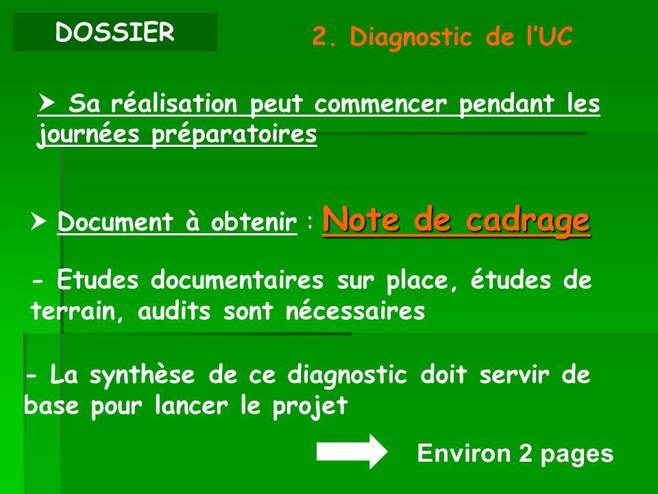 DOSSIER2. Diagnostic de l'UC.  Sa réalisation peut commencer pendant les journées préparatoires.  Document à obtenir : Note de cadrage.