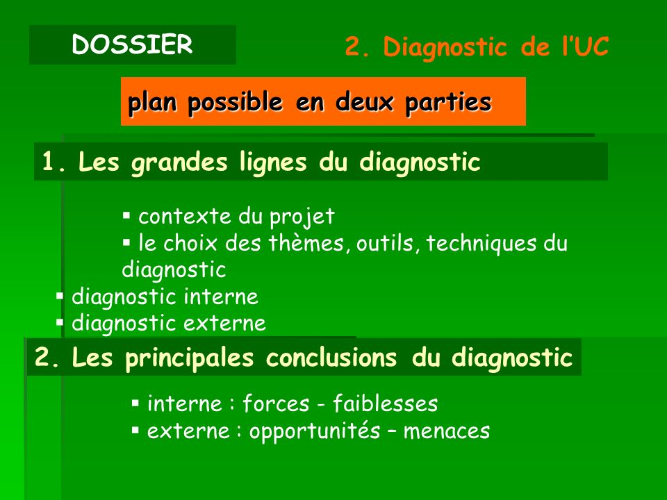 plan possible en deux parties