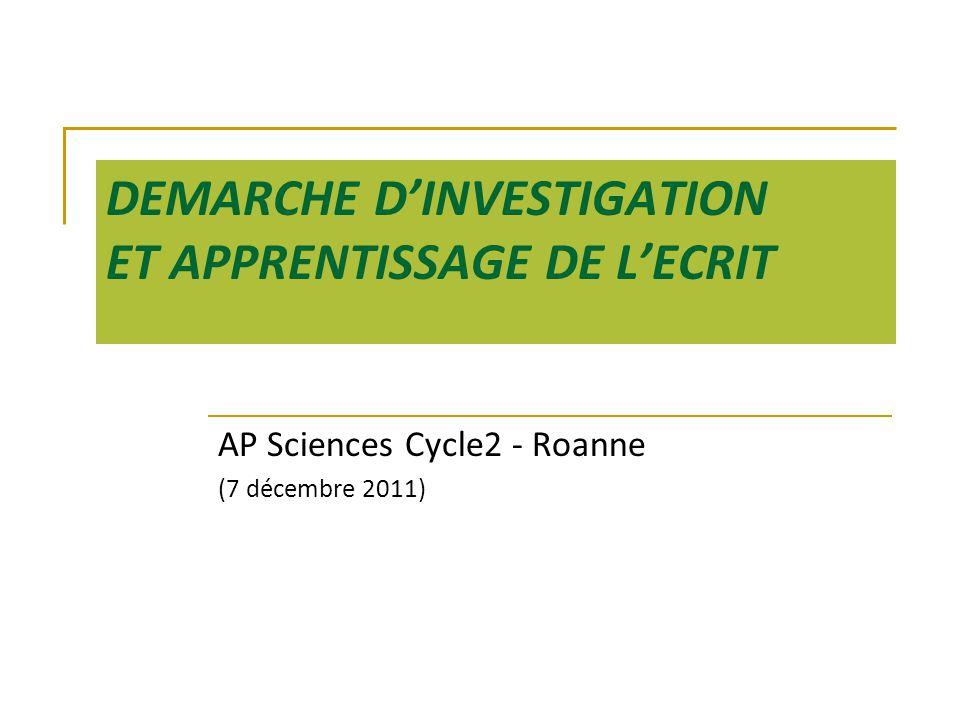 DEMARCHE D'INVESTIGATION ET APPRENTISSAGE DE L'ECRIT