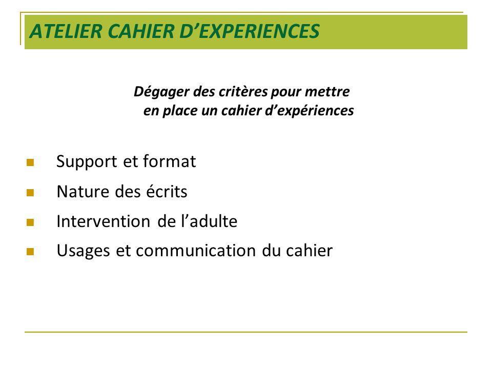 ATELIER CAHIER D'EXPERIENCES