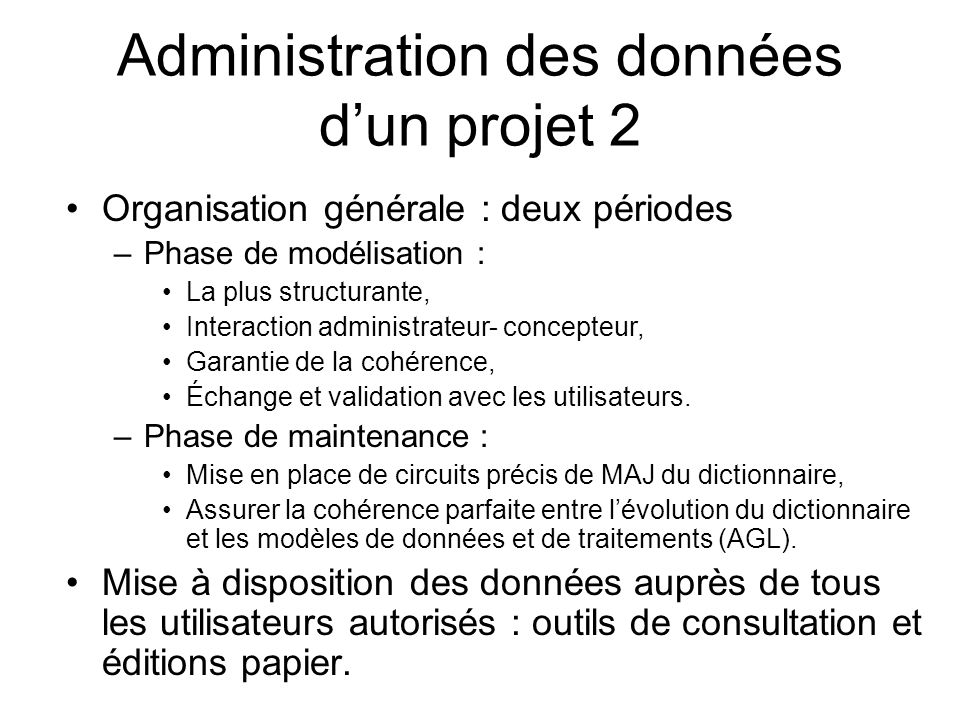 Administration des données d'un projet 2