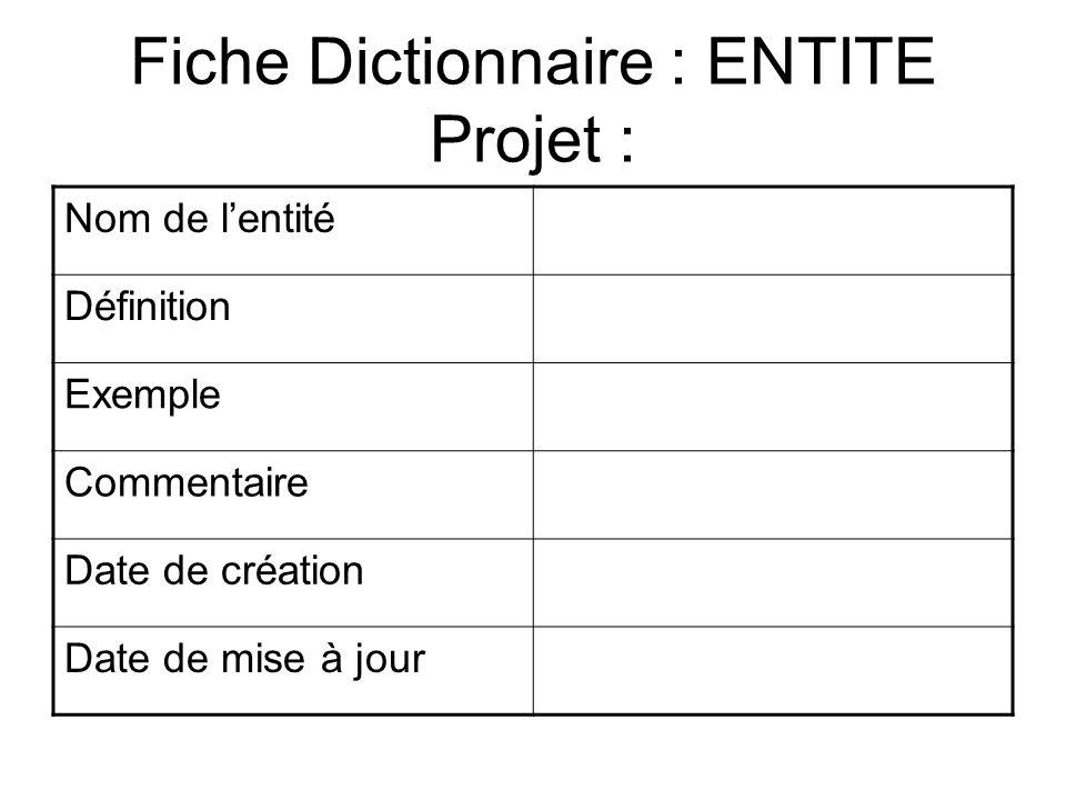 Fiche Dictionnaire : ENTITE Projet :