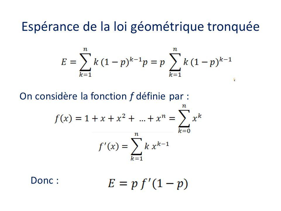Espérance de la loi géométrique tronquée