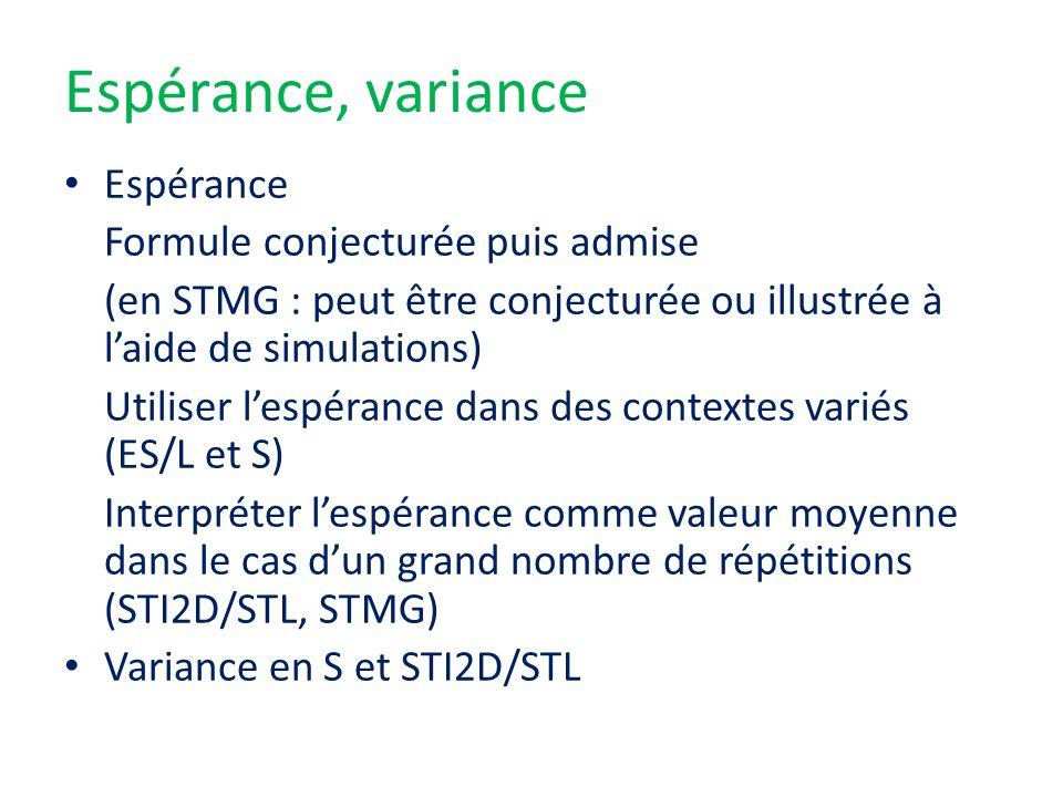 Espérance, variance Espérance Formule conjecturée puis admise