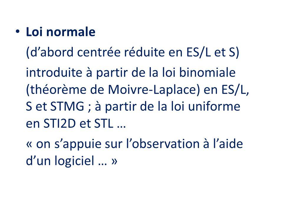 Loi normale (d'abord centrée réduite en ES/L et S)