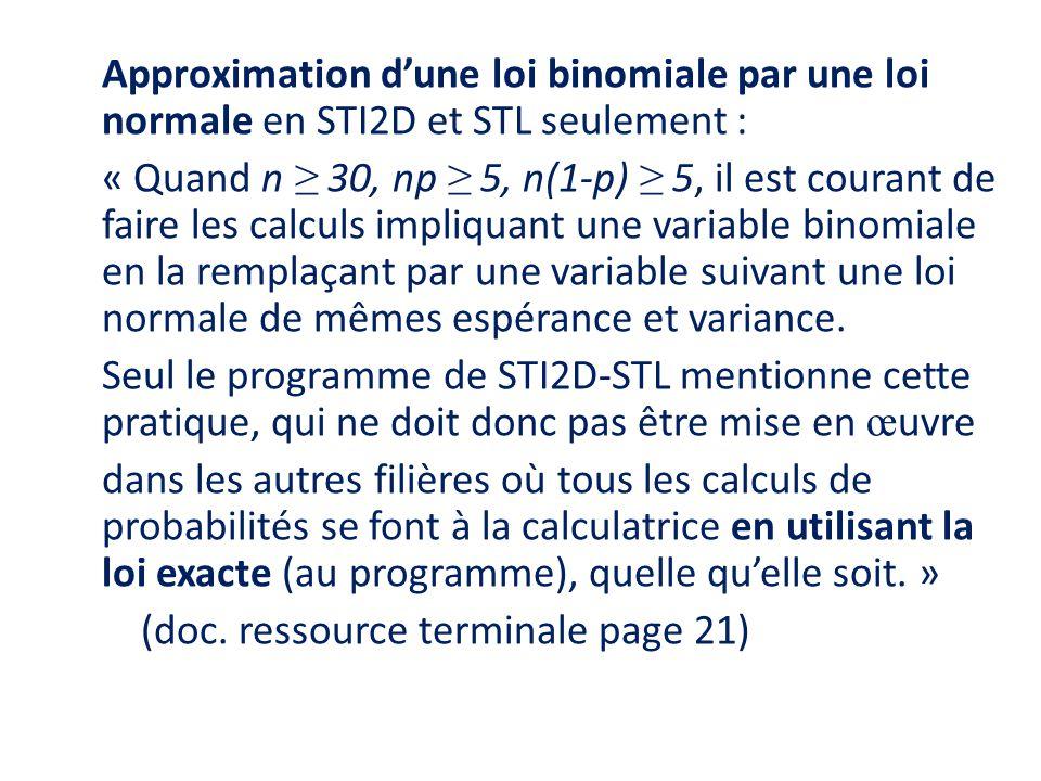 Approximation d'une loi binomiale par une loi normale en STI2D et STL seulement : « Quand n ≥ 30, np ≥ 5, n(1-p) ≥ 5, il est courant de faire les calculs impliquant une variable binomiale en la remplaçant par une variable suivant une loi normale de mêmes espérance et variance.