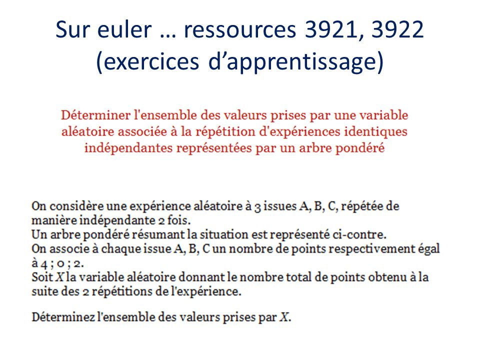 Sur euler … ressources 3921, 3922 (exercices d'apprentissage)