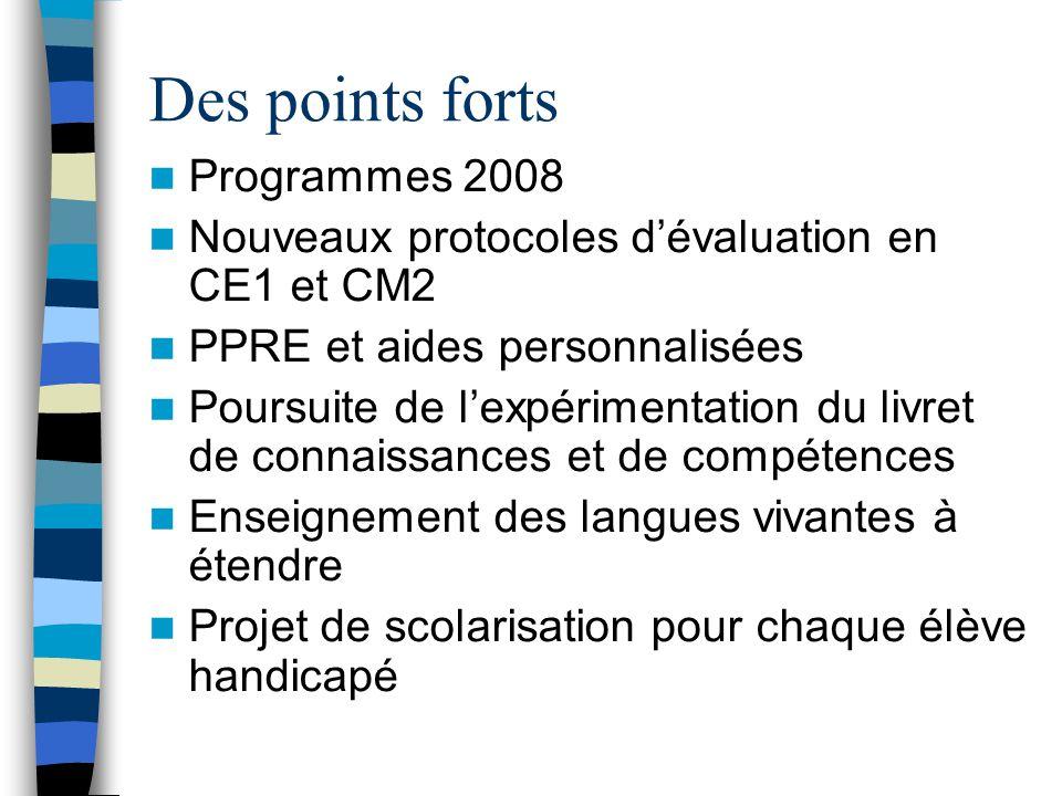 Des points forts Programmes 2008