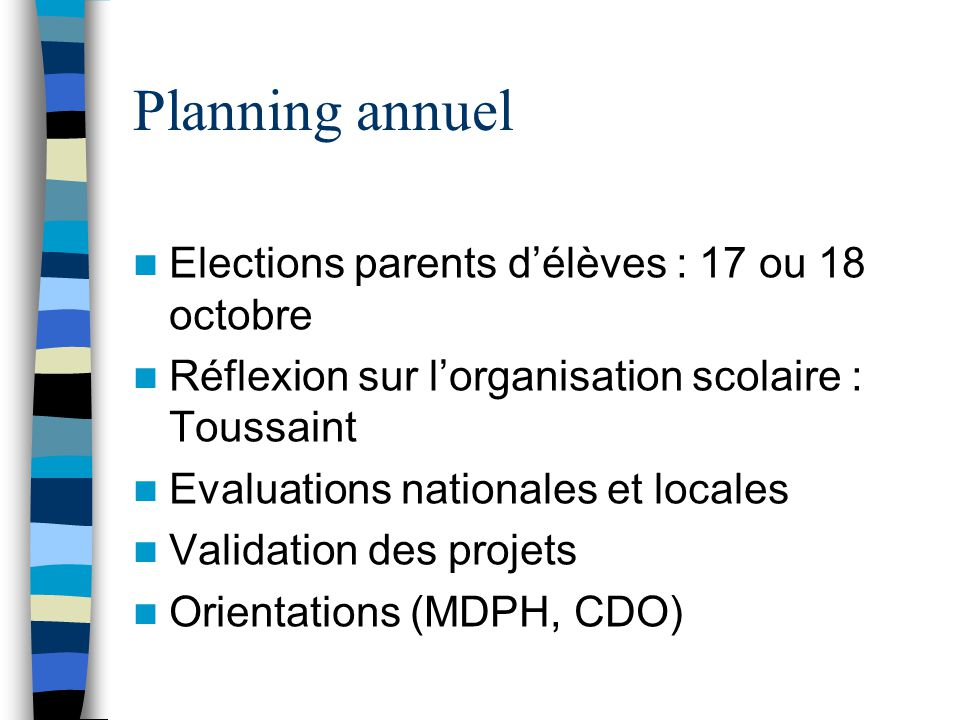 Planning annuel Elections parents d'élèves : 17 ou 18 octobre