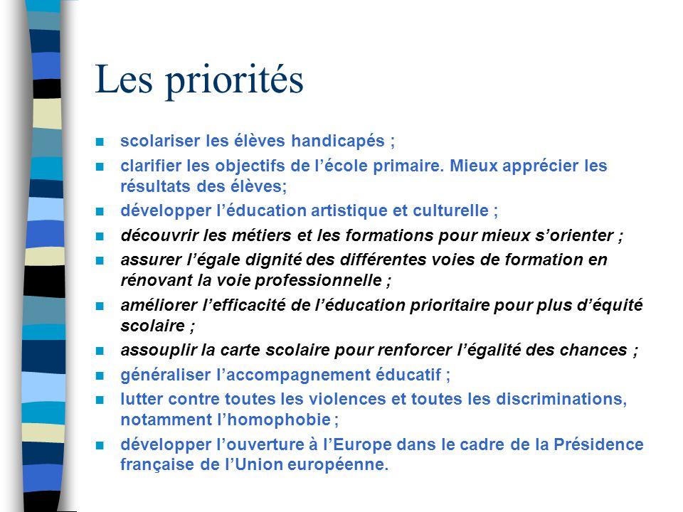 Les priorités scolariser les élèves handicapés ;