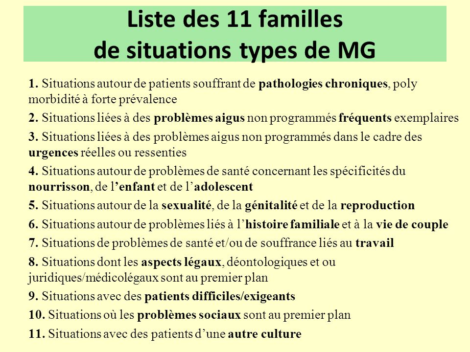 Liste des 11 familles de situations types de MG