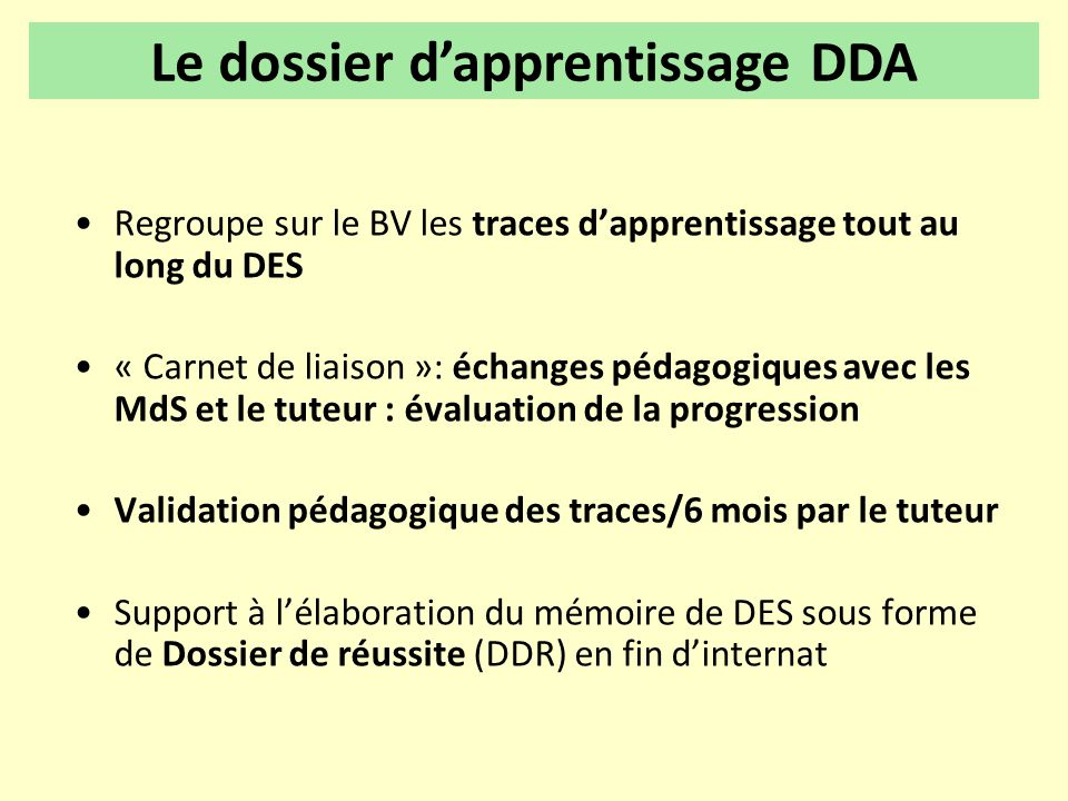 Le dossier d'apprentissage DDA