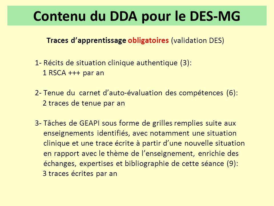 Contenu du DDA pour le DES-MG