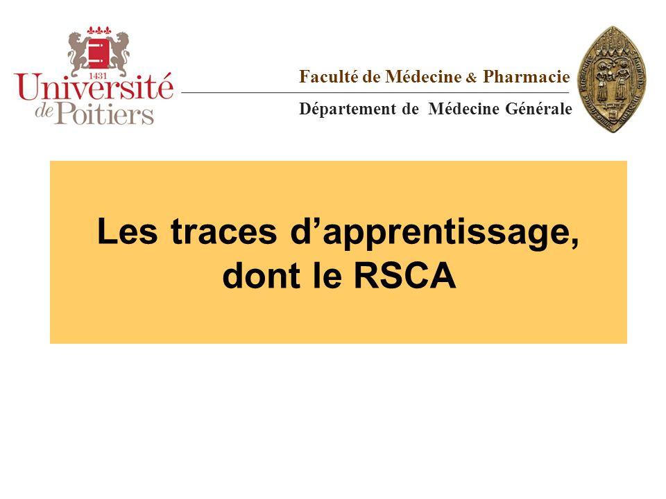 Les traces d'apprentissage, dont le RSCA