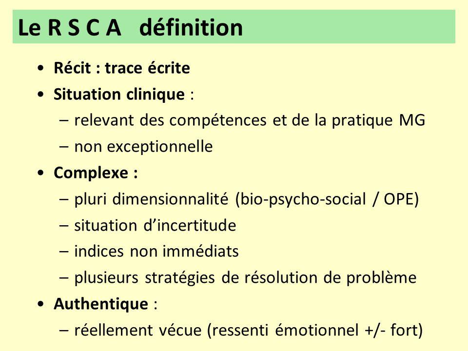 Le R S C A définition Récit : trace écrite Situation clinique :