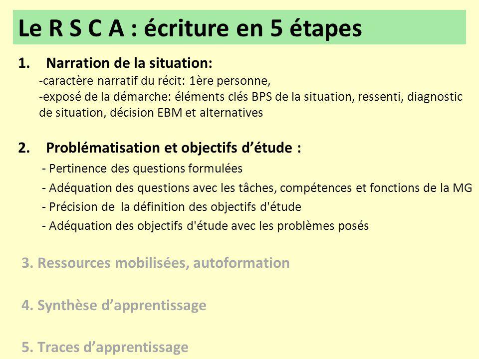 Le R S C A : écriture en 5 étapes