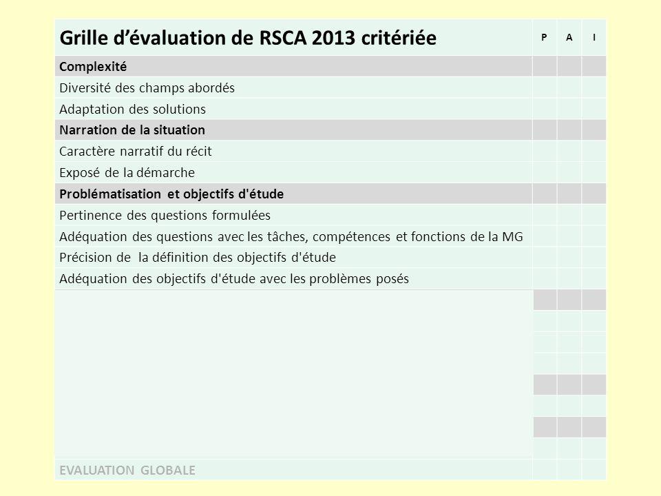 Grille d'évaluation de RSCA 2013 critériée