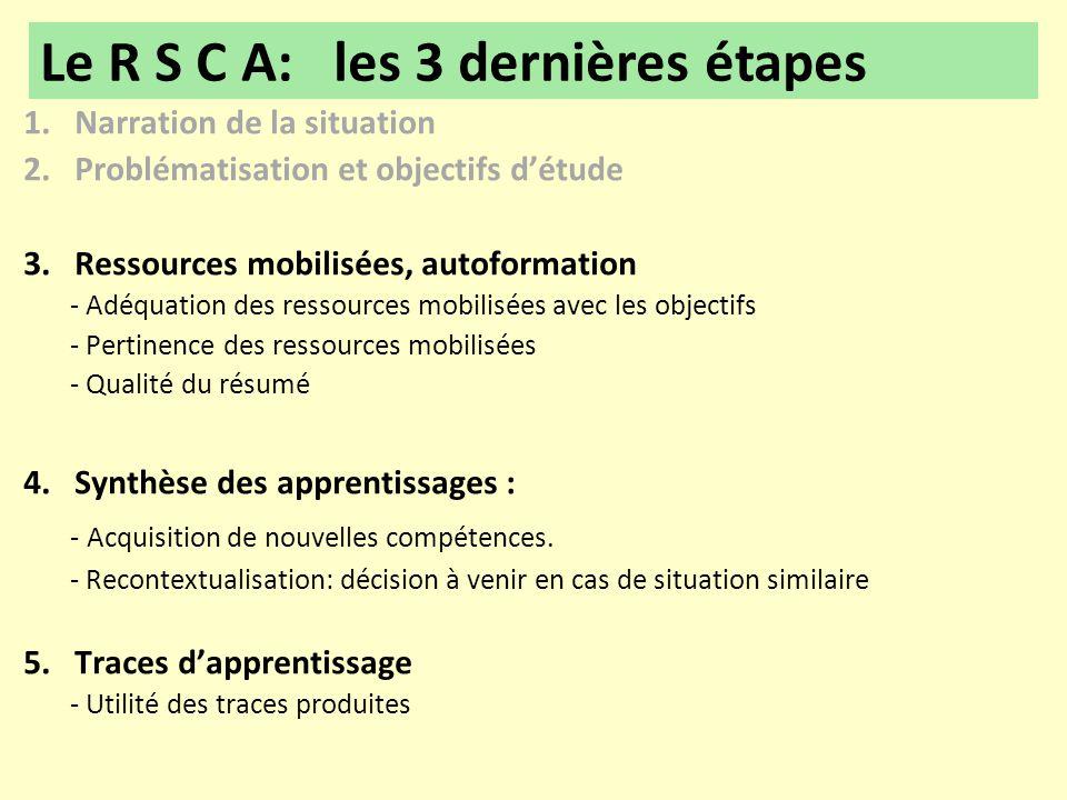 Le R S C A: les 3 dernières étapes