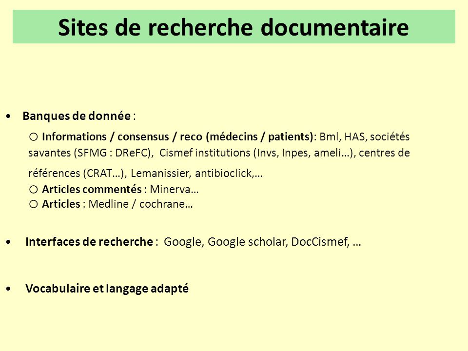 Sites de recherche documentaire