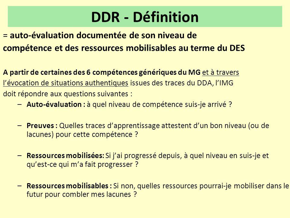 DDR - Définition = auto-évaluation documentée de son niveau de