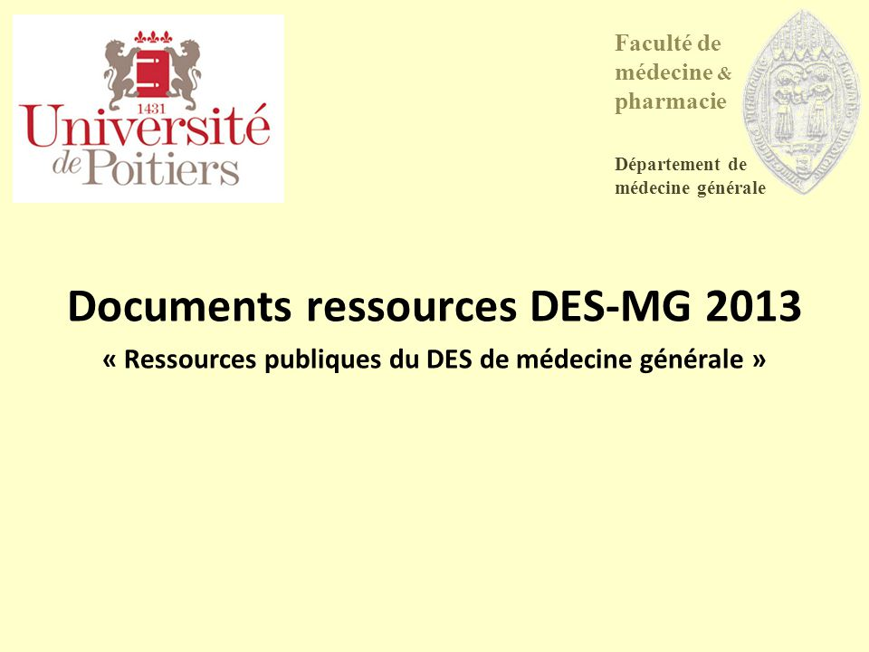 Documents ressources DES-MG 2013