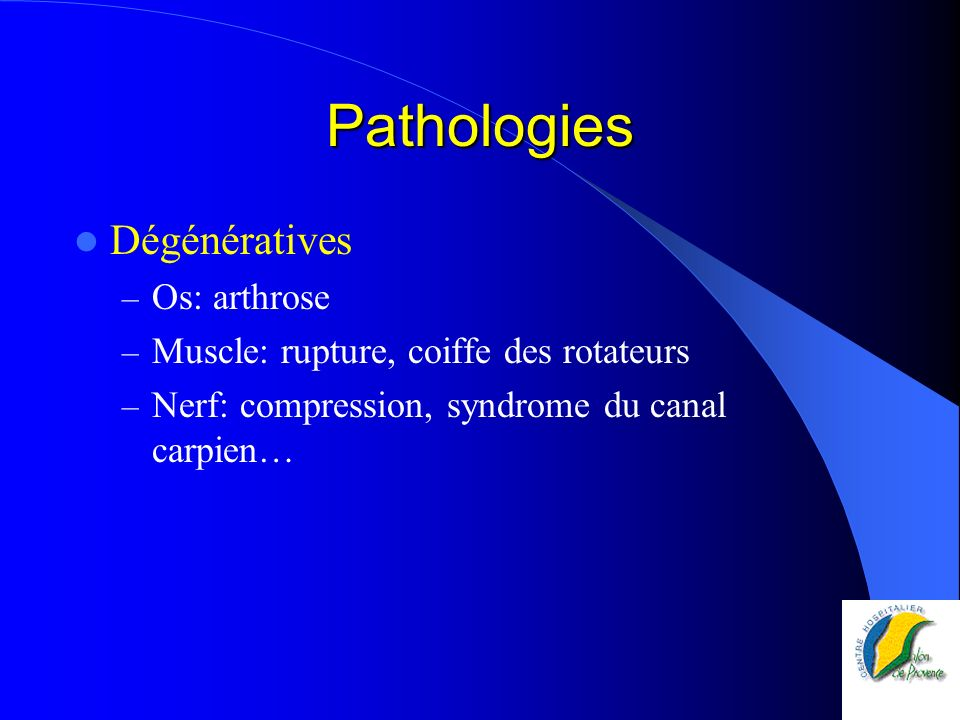 Pathologies Dégénératives Os: arthrose