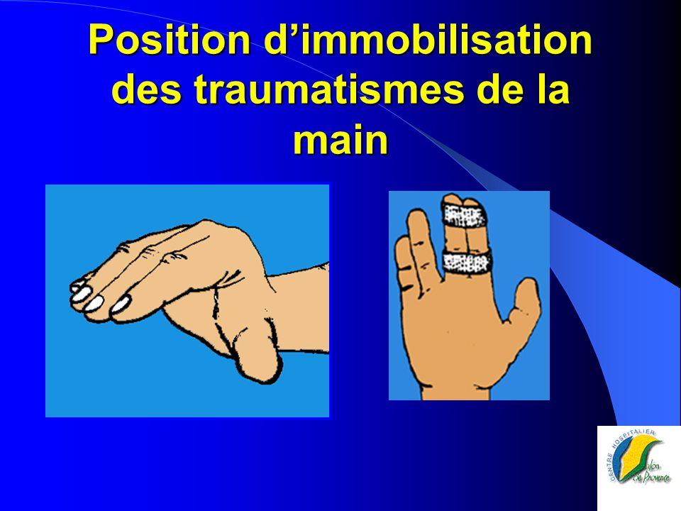 Position d'immobilisation des traumatismes de la main
