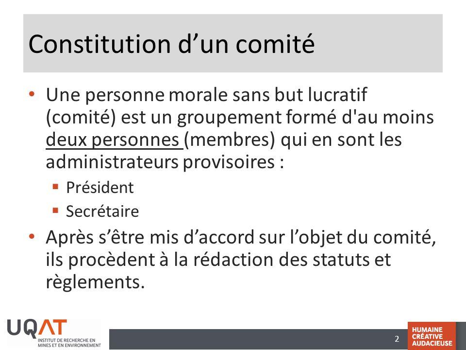 Constitution d'un comité