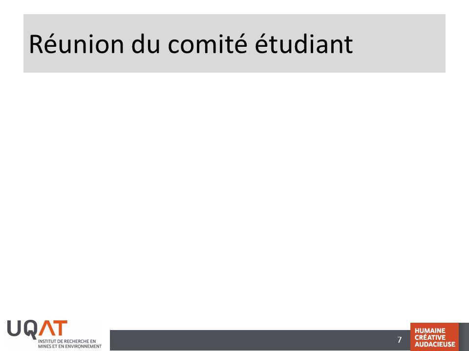 Réunion du comité étudiant