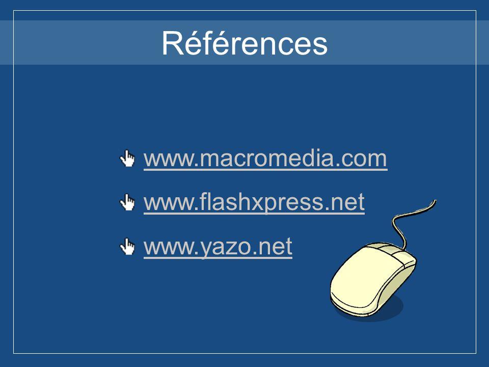 Références www.macromedia.com www.flashxpress.net www.yazo.net
