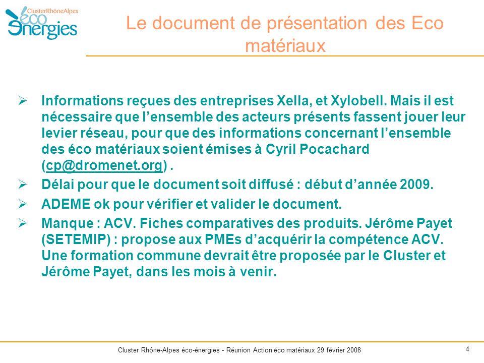 Le document de présentation des Eco matériaux