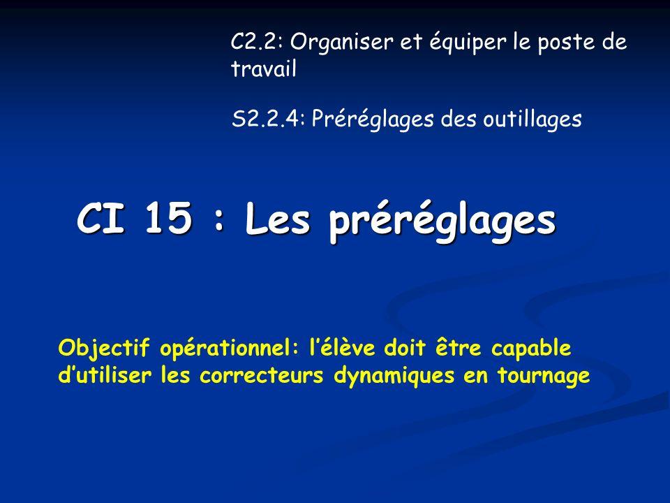 CI 15 : Les préréglages C2.2: Organiser et équiper le poste de travail