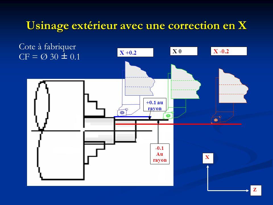 Usinage extérieur avec une correction en X